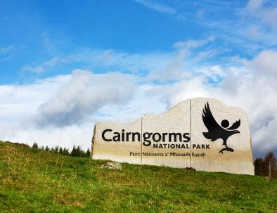Cairngorms National Park Sign, Cairngorms, Scottish Highlands, Scotland.