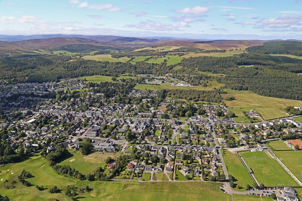 An birds eye view of the Highland town of Grantown